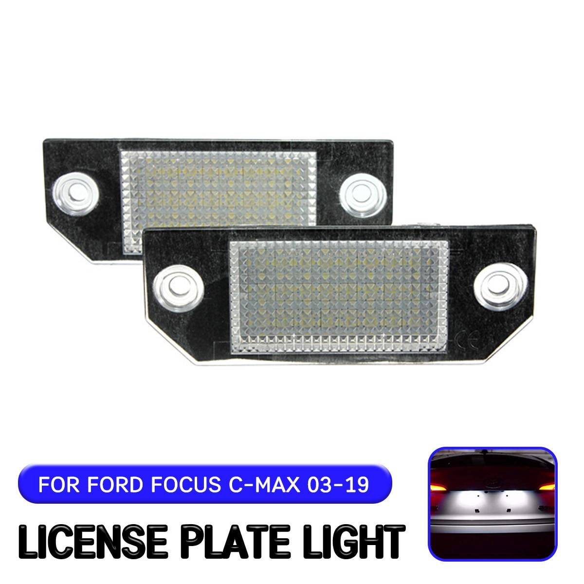 Para Ford C-MAX 2003-2019 para Ford Focus MK2 2003-2008 2pc LED luz de placa de matrícula de la lámpara