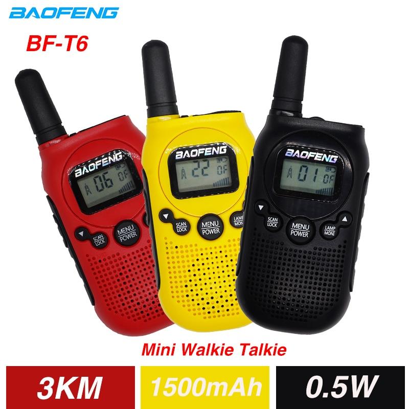 2PCS Baofeng BF-T6 Mini Kinder Walkie Talkie FRS PMR Tragbare CB Ham Radio Station 3KM 22 Kanäle Zwei weg Radio FM Communicator