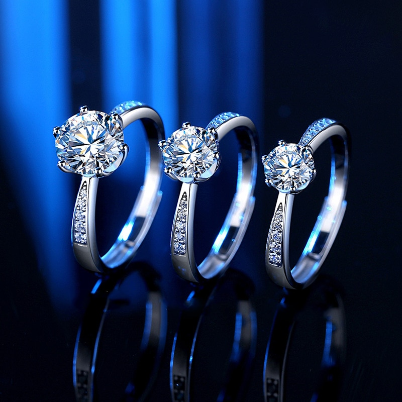 Moissanite diamond ring open female 925 sterling silver 1-2carat  60 points six claw simulation luxury jewelry for women wedding