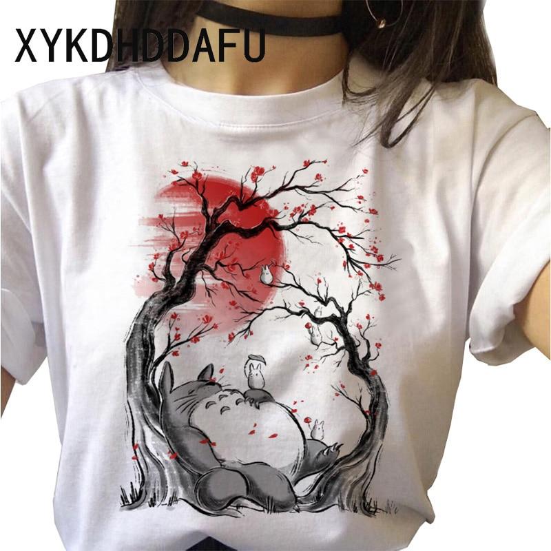 Camiseta Totoro para mujer, camiseta Kawaii japonesa de verano de dibujos animados, camiseta estética Ulzzang Harajuku, camisetas divertidas, camiseta femenina