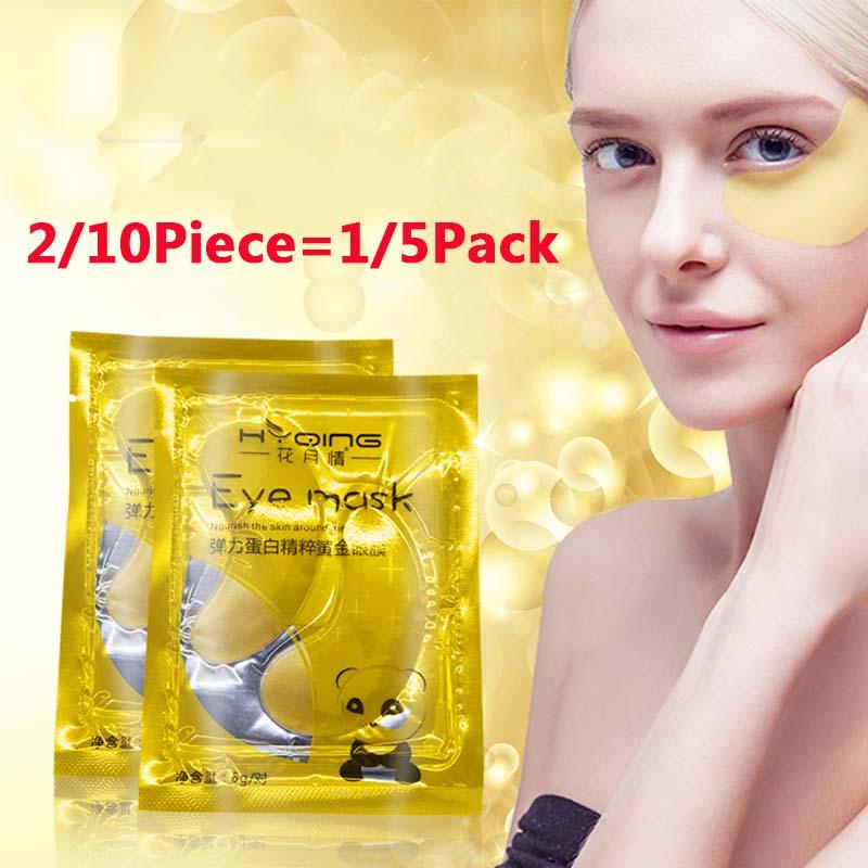 2/10 piezas = 1/5Pack gran oferta de cristal de oro de la mascarilla de colágeno para ojos parches de cuidado de la piel eliminar Círculos oscuros ojos bolsas hidratación TSLM1