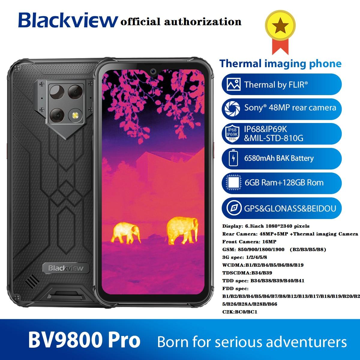 Blackview BV9800 Pro Thermal Camera Smart Phone Helio P70 Android 9.0 6GB+128GB IP68 Waterproof 6580mAh Rugged Smartphone