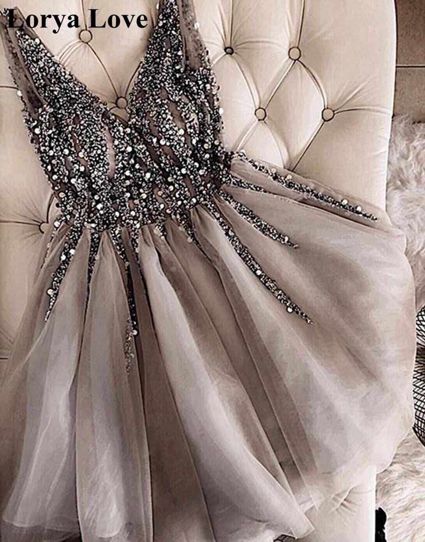 Gri kokteyl elbiseleri 2020 v yaka parıltı Sequins boncuk tül kısa balo kıyafetleri Vestidos De Gala kadın mezuniyet elbisesi elbise