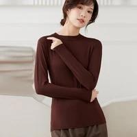 spring autumn korean fashion turtleneck oversized cotton long sleeve t shirt women high stretch slim tops clothes blusa feminina