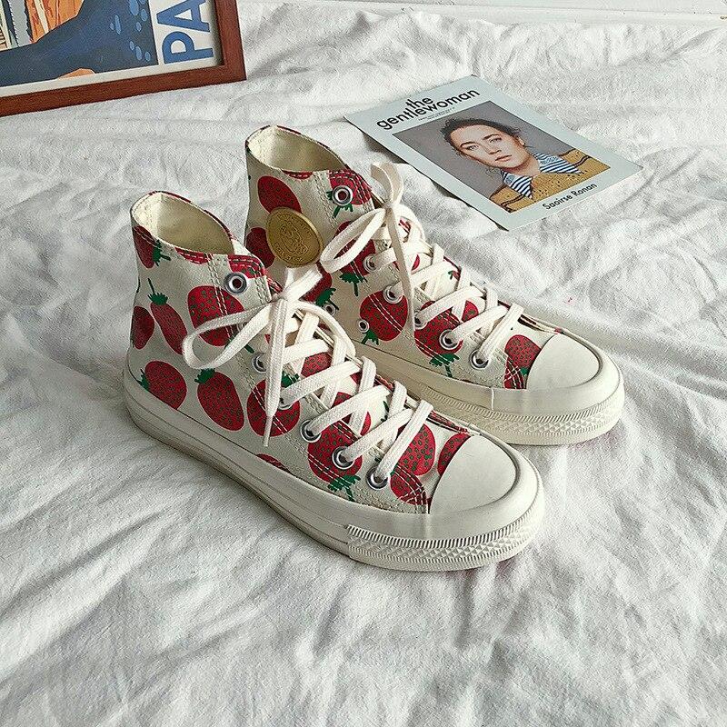 e lov fashion print anime goku fans canvas shoes cosplay dragon cartoon casual loafers women flats harajuku shoes Strawberry Print Women Canvas Shoes Flats Women Vulcanized Shoes Lace-Up Female Casual Shoes Ladies Canvas Sneakers
