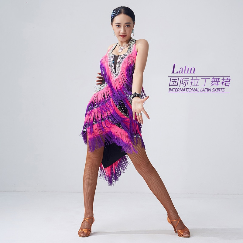 فستان لاتيني جديد لعام 2020 ، شرابات متدرجة ، مسابقة رقص لاتيني جديدة بمعايير وطنية ، فساتين تنكرية ، للنساء البالغات مصممة خصيصًا