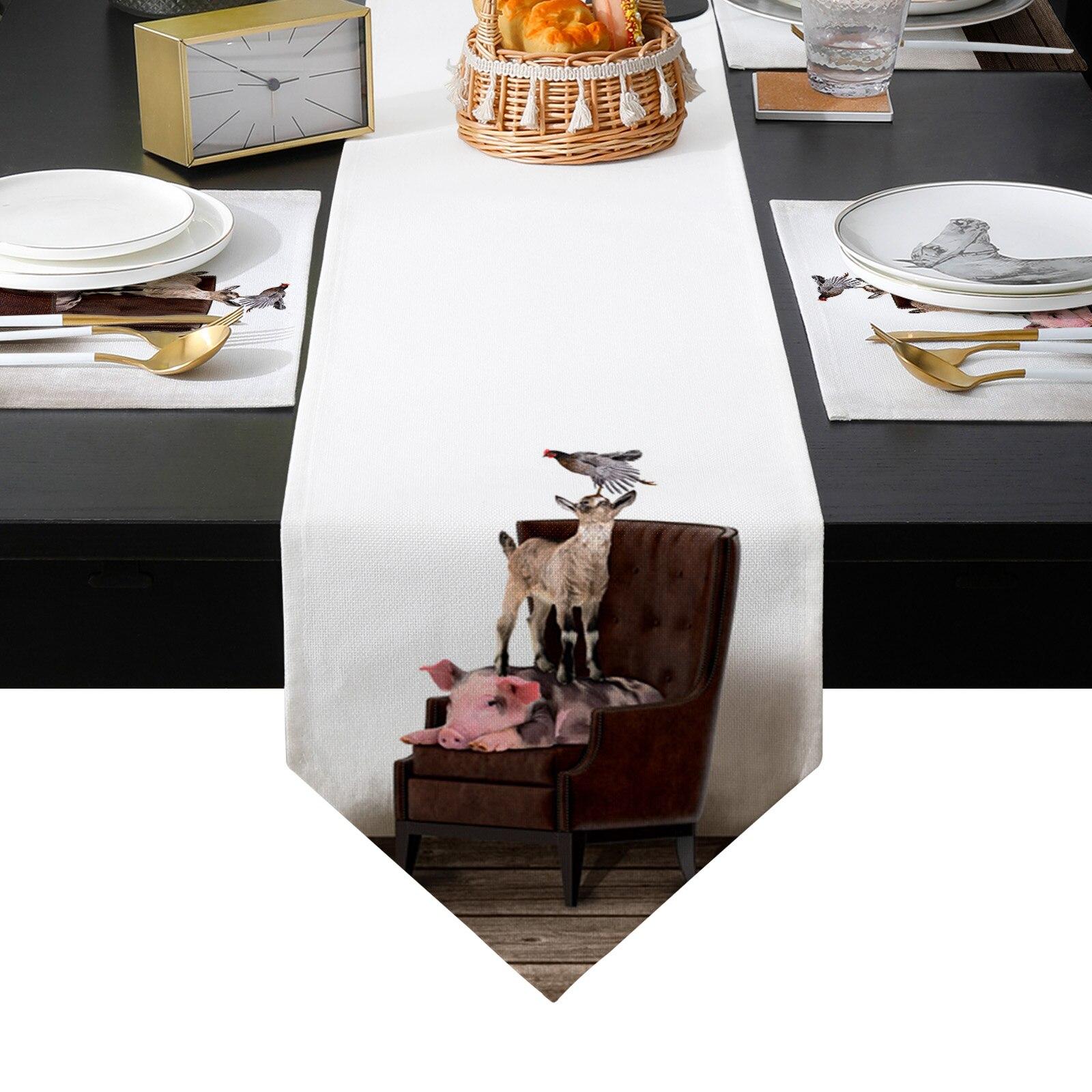 خنزير البقر الدجاج يجلس على كرسي الجدول عداء تحديد الموقع مجموعة سماط طاولة طعام حصيرة المنزل الزفاف الجدول الديكور