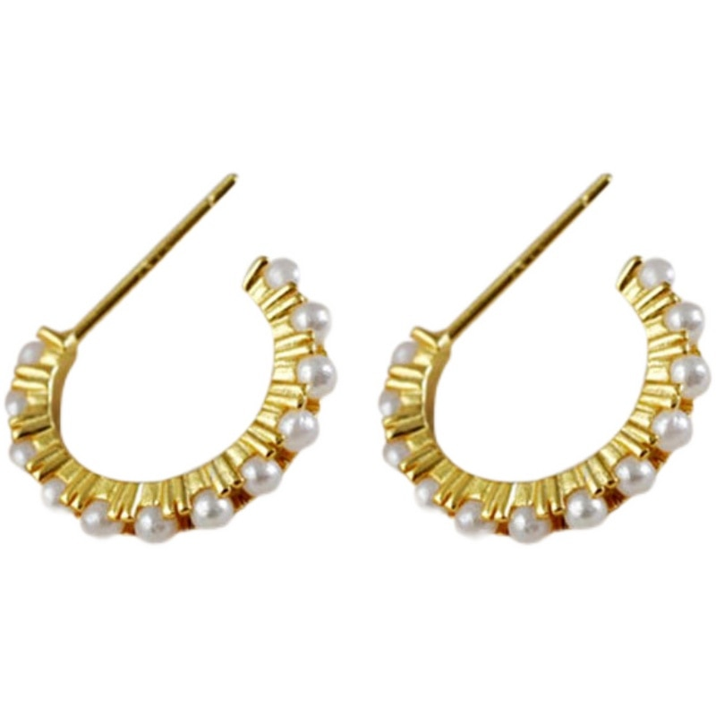 S925 Sterling Silver Eargs about temperament personality retro half round Pearl Earrings for women g