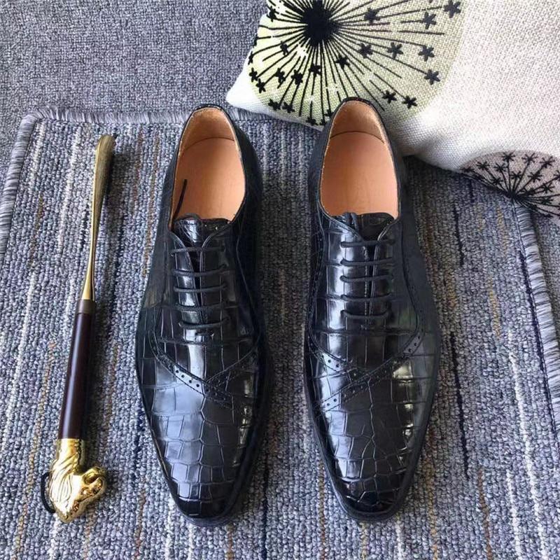جلد التمساح الأصلي رجال الأعمال فستان أكسفورد جلد التمساح الحقيقي 100% مصنوع يدويا جلد البقر الحقيقي الوحيد مكتب الذكور الأحذية