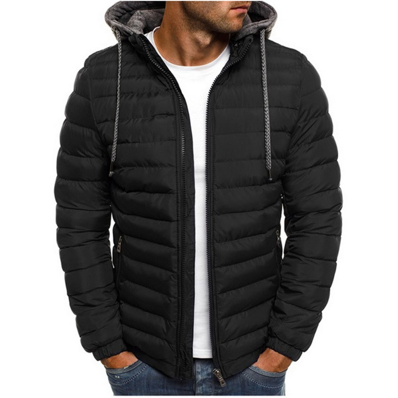Parkas de invierno ligeras y cálidas para hombre, a rayas, sólidas, con cremallera, bolsillo, gabardina, de algodón, con capucha, ropa de 2019 para hombre