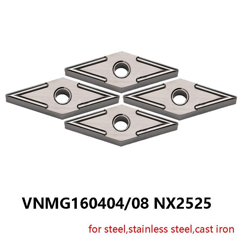 Inserções de Carboneto 160408 para Aço Originais Vnmg 160404 Inoxidável Ferro Fundido Cnc Ferramenta Torno Vnmg160404 Vnmg160408 Nx2525
