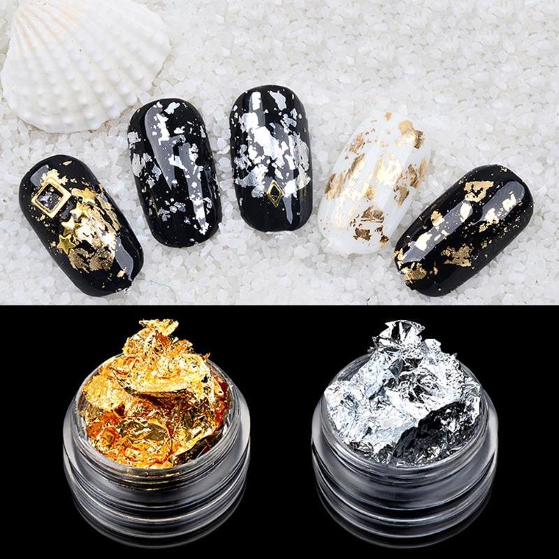 Glitter Tinfoil Nail Art Stickers UV Gel Crystal Manicure Tin Foil Decals Nails Designs Super Shining Paillette Nail Art Decor