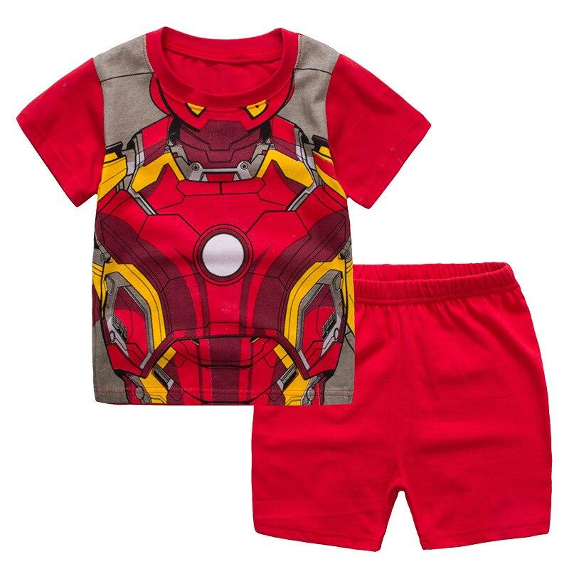 2020 Summer Children Boys Pajamas Pijamas Infantil Baby Pyjamas Cotton Short Sleeve Clothing Ironman Cartoon 2-7y