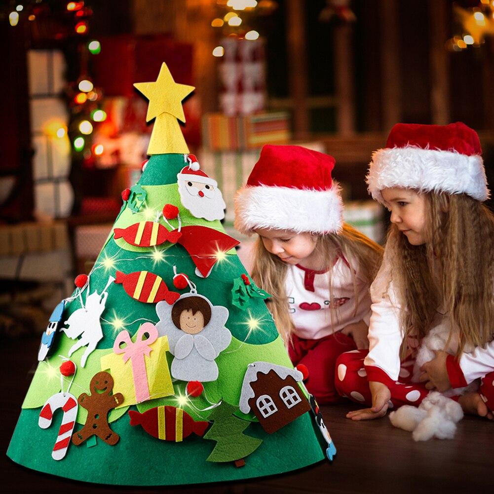 Arbre de noël 3D en feutre 28 pièces   Bricolage, fournitures de fête et de fête, ornements détachables, décoration de noël en String lumineux, pour maison pour enfants