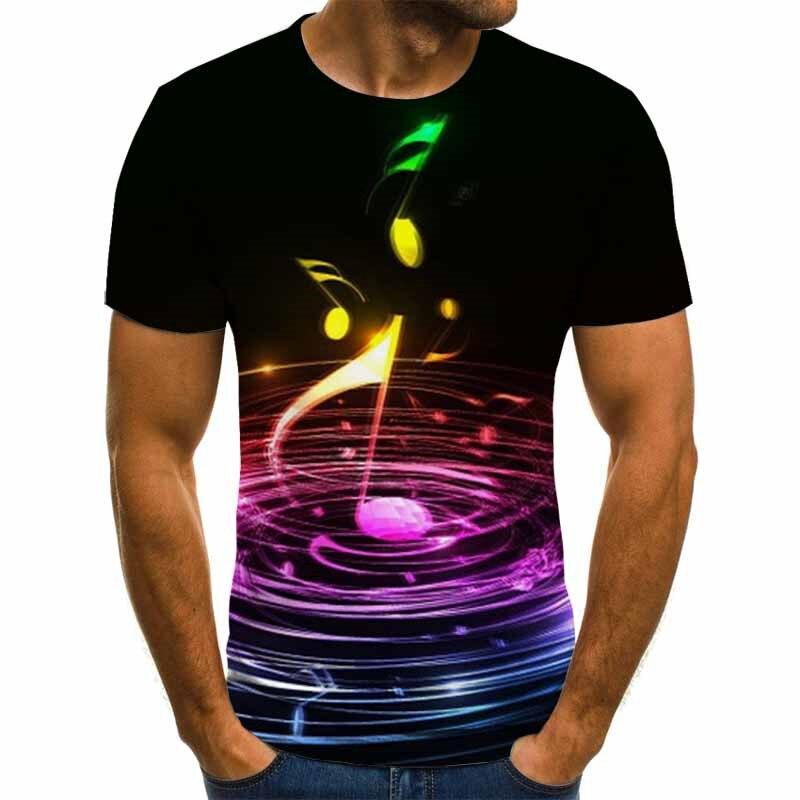 2020 nueva camiseta de música para hombres, camiseta de guitarra 3d, camiseta estampada, ropa gótica de Anime, camiseta de manga corta, XXS-6XL