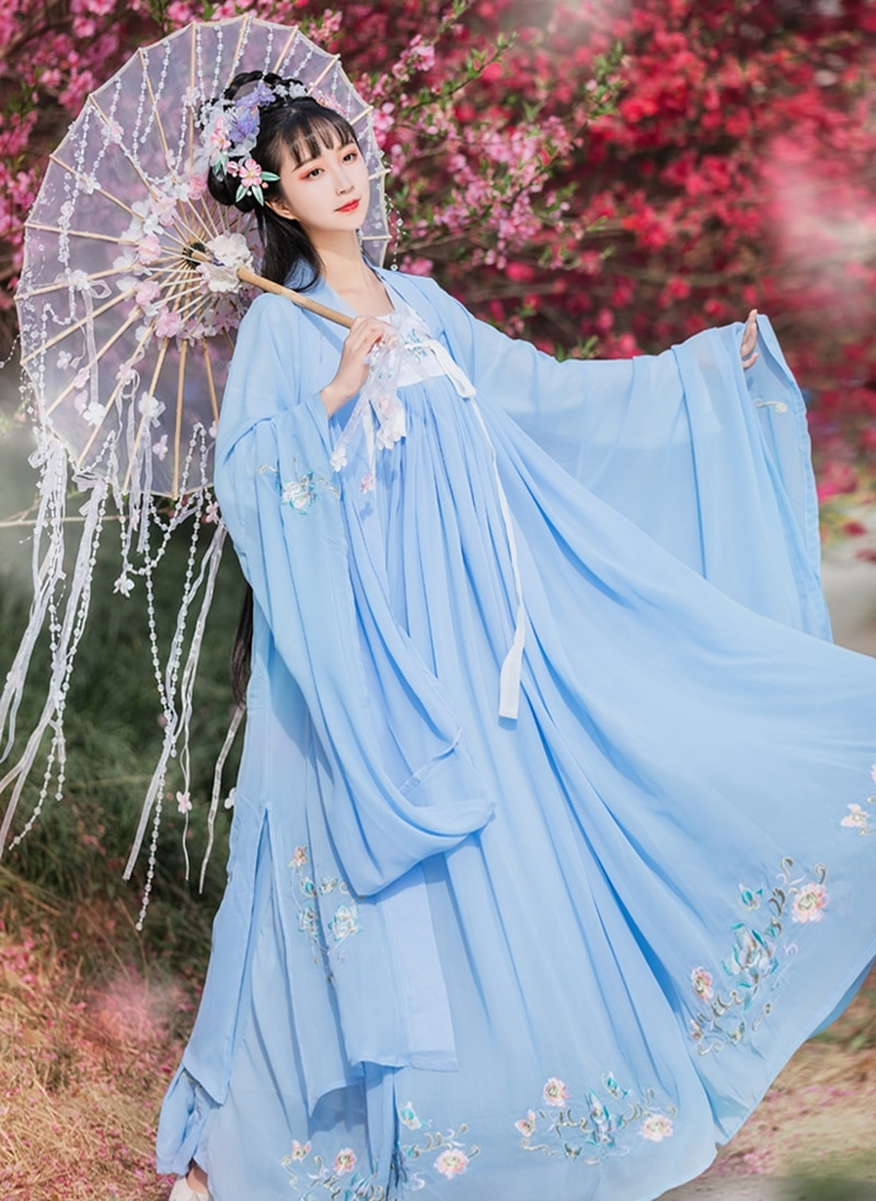 Fuling embroidered Hanfu women's full-chested waist skirt big sleeve shirt heavy industry embroidery traditional Chinese Hanfu