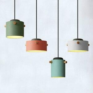 Modern Pendant Light Nordic Led Wooden Lighting Hanging Fixture Suspension Kitchen Dining Living Bedroom Bedside Decoration Lamp