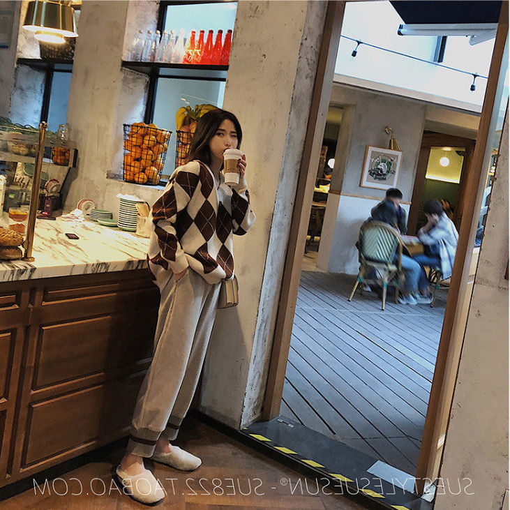 Pregnant Women's Suit Maternity Fashion Wear Loose Plaid Sweater and Pants two piece suit Mother Woollen Winter Clothing M-2XL enlarge