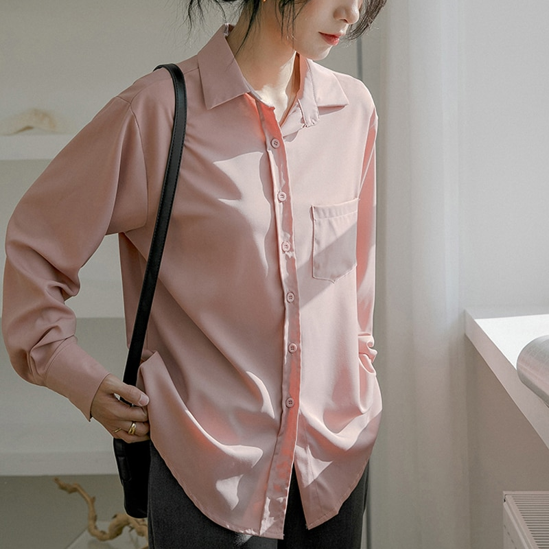 H6ec4ed9bf5614fbb972a32176bd94f6a2 - Spring / Autumn Turn-Down Collar Long Sleeves Solid Pocket Blouse