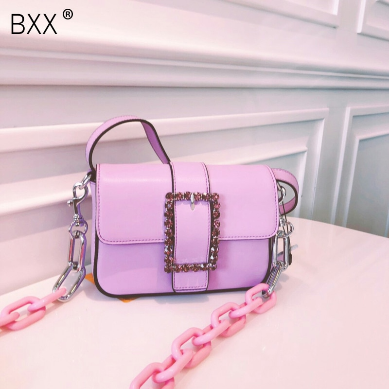 [BXX] Bolso bandolera de un solo hombro para mujer que combina con todo 2020 verano marca diseñador strass paquete cadena cintura pecho bolsa HI037