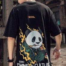 Camisetas de hombres impresas con gráficos divertidos de Panda, ropa holgada de estilo Preppy, camisetas nuevas con cuello redondo y dibujos animados