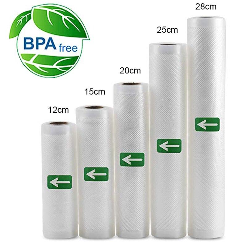 5 Rolls/Lot Kitchen Food Vacuum Bag Storage Bags for Vacuum Sealer Food Keep 12+15+20+25+28cm*500cm