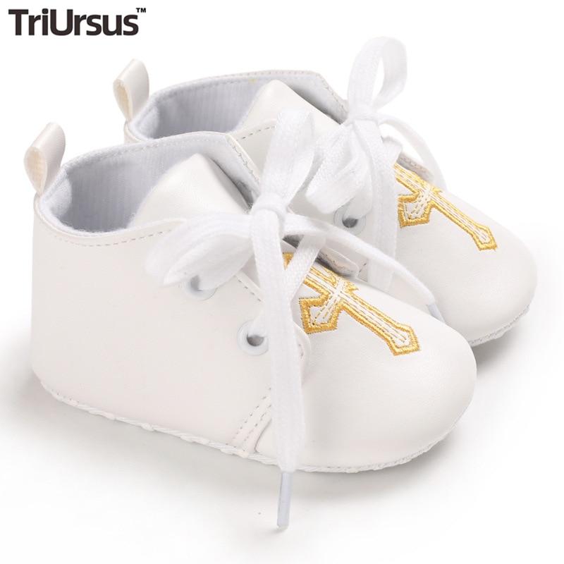 Triursus Brand Baby Boys Girls Prewalker Shoes Christening White Spring Autumn Newborn First Walkers