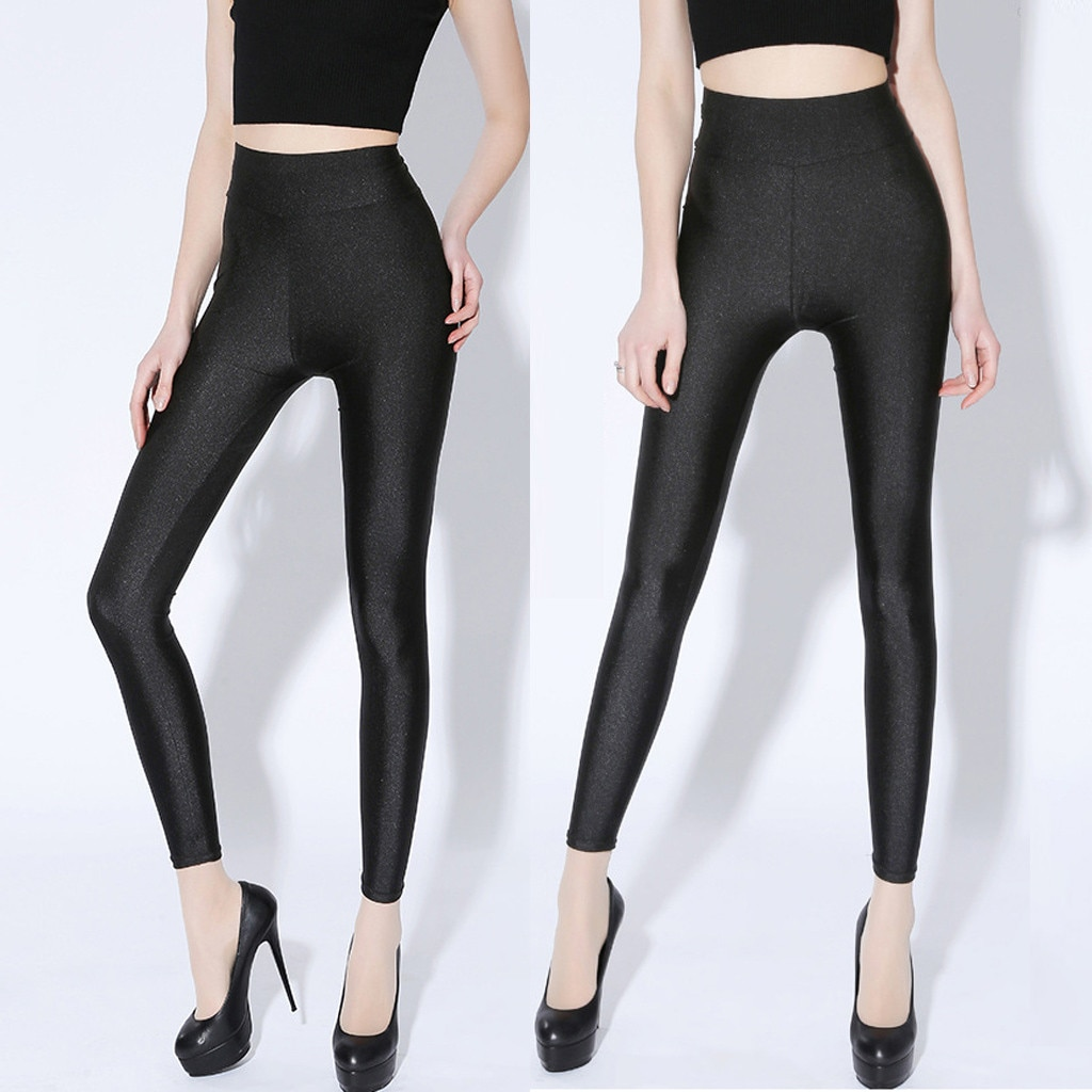 Pantalones de cuero de PU de verano negro para mujeres de cintura alta flaca Push Up Leggings Sexy pantalones elásticos estiramiento de talla grande Jeggings XL-6XL
