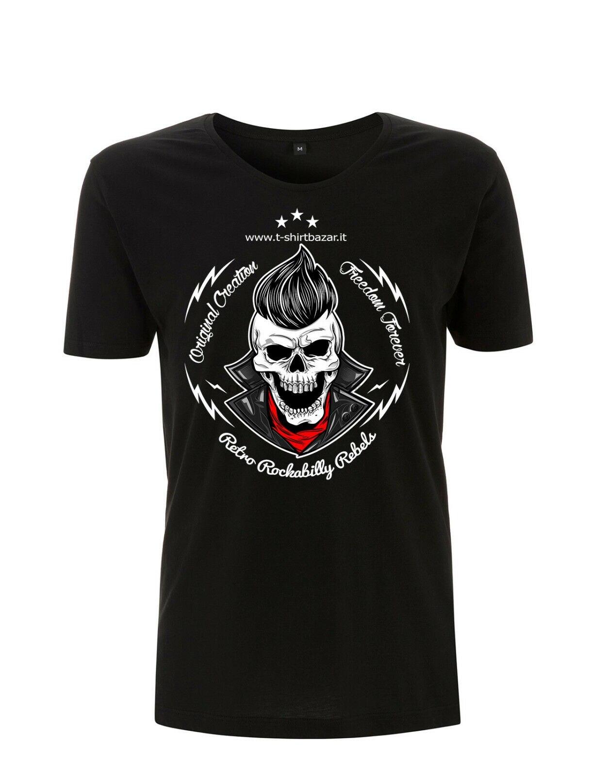 Cuello ancho en Biker Cleavage con Crest camiseta Camisa estampada calavera