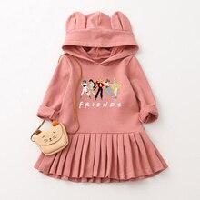 Fashion Sailor Moon Friends Kids Girls Dress Autumn Children's Wear Rabbit Ears Cap Long Sleeves Pleats Style Girl Hoodie Dress