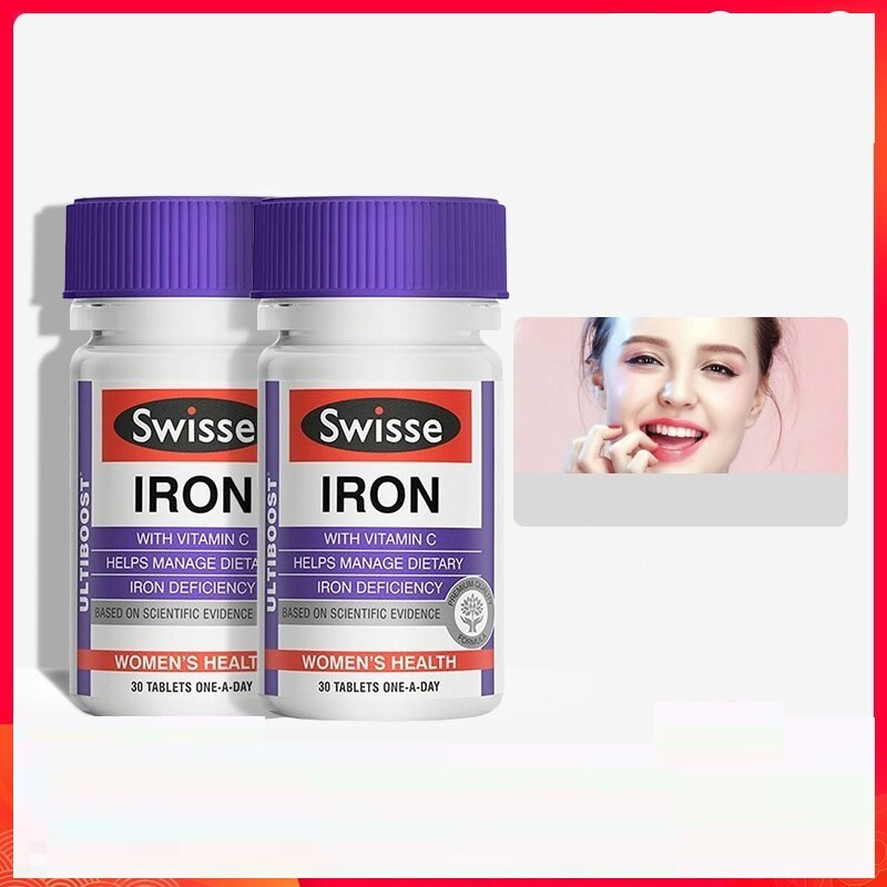 Swisse Iron 30Tablets *2PCS Supplement Dietary Iron Deficiency Treatment Suitable for Vegetarians During pregnancy Healthy blood