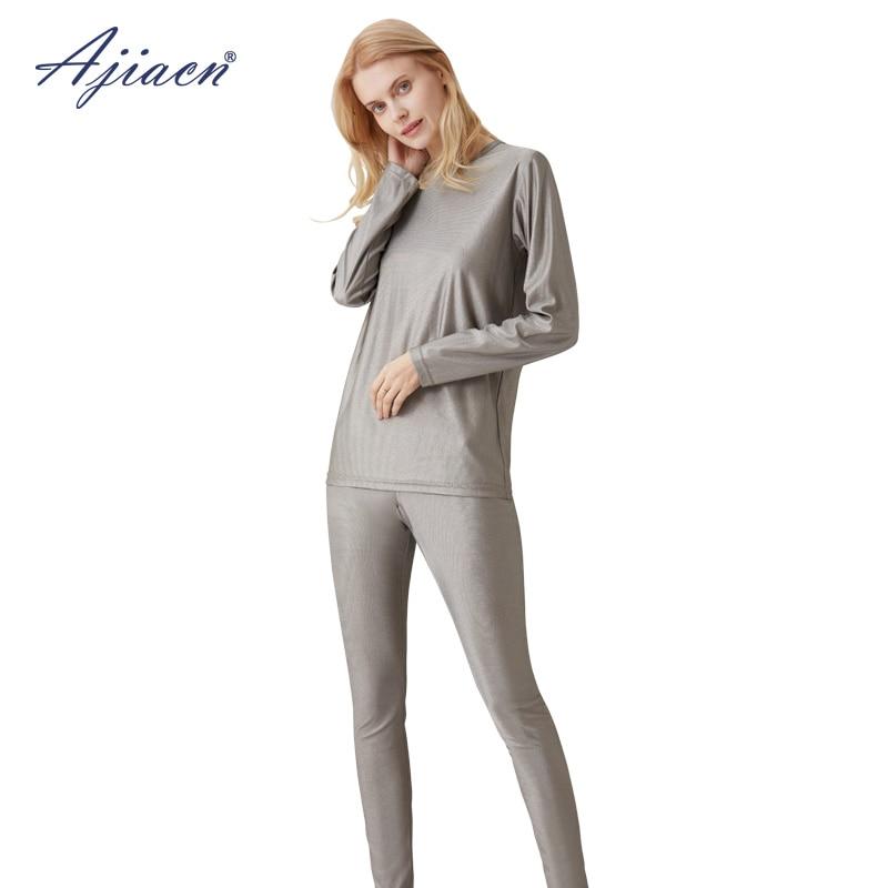 Genuine radiation-poof women's long underwear set 5g communication, monitoring room EMF shielding 100% silver fiber underwear
