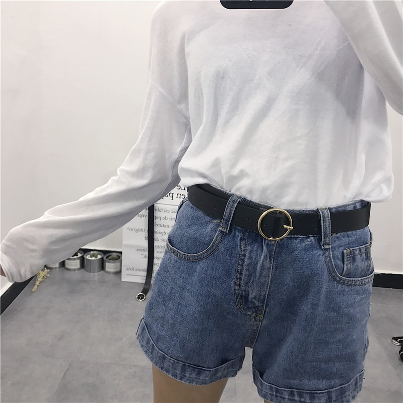 Round Buckle Women's Wide Black Simple All-Match Korean Casual Ring Retro Characteristic Decorative