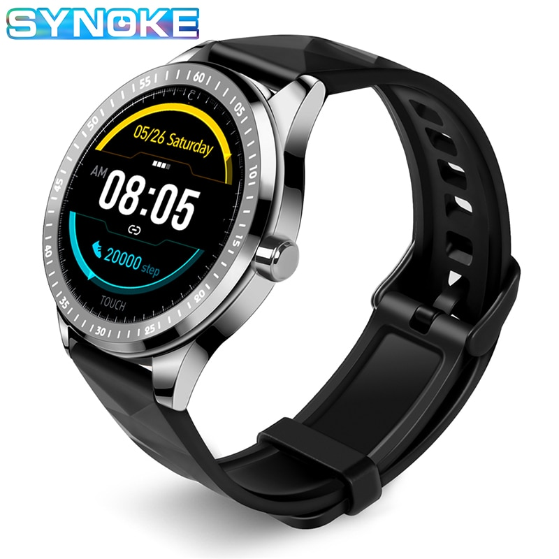 kinyo 2018 smartwatch amoled 1 16gb mt6737m lte 4g network android 7 0 gps heart tracker smart watch for men for xiaomi lem7 SYNOKE IP67 Waterproof Smart Watches Blood Pressure Smartwatch Men  Heart Rate Tracker For Android IOS 2020 Bluetooth Watch