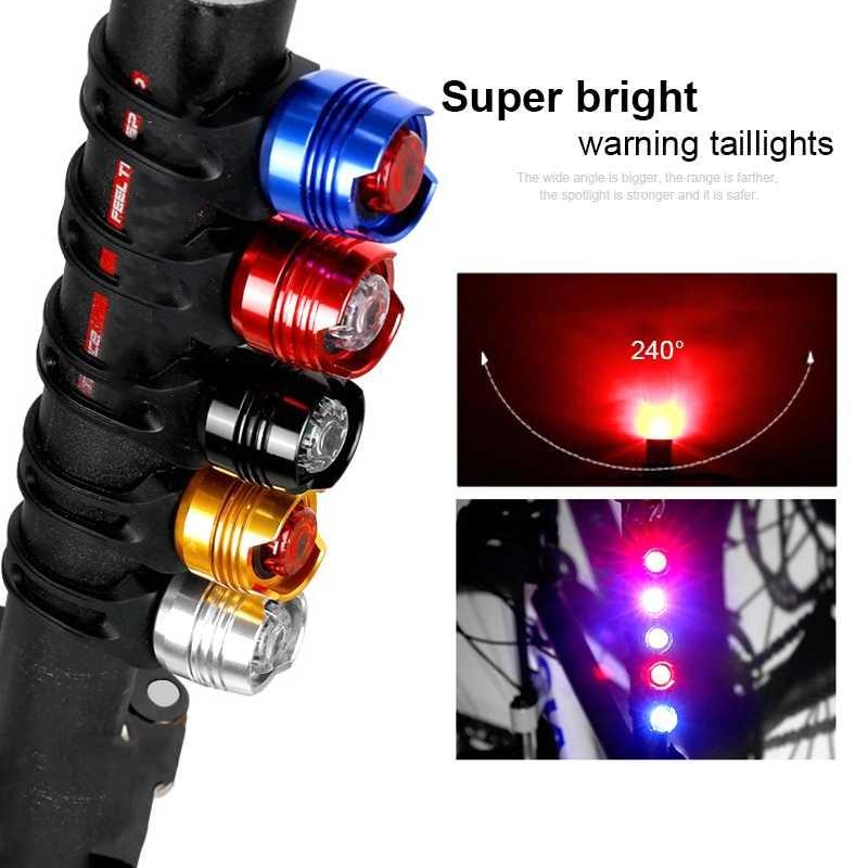Advertencia de bicicleta, Flash de seguridad para conducción al aire libre, casco, luz para bicicleta de montaña, Mini lámpara para bicicleta, luz trasera