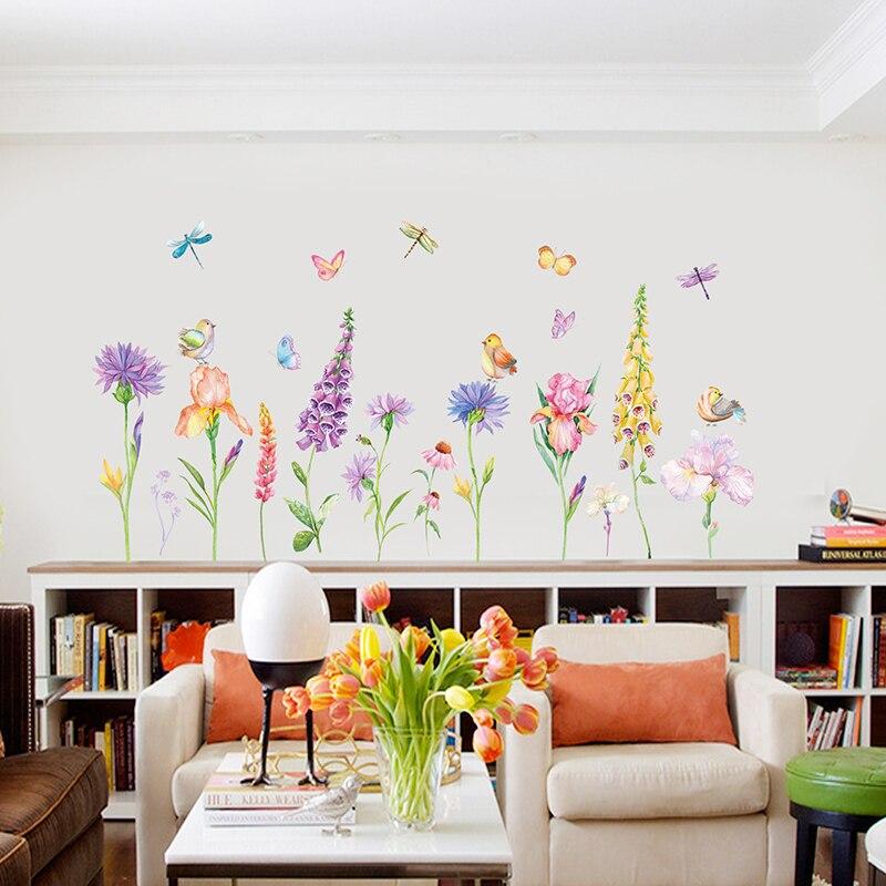 DIY pegatina de pared extraíble decoración del hogar flores coloridas flores pájaro mariposa decoración de la habitación base borde calcomanías de vinilo PVC