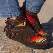 2020 femmes bottes arc-en-ciel couture dames bottines décontracté gland automne plat femme chaussures confort troupeau femme chaussures