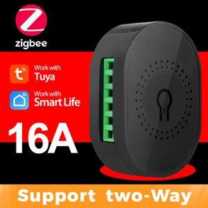 Tuya ZigBee 3.0 Smart Light Switch 16A Mini Automation DIY Module Button Breaker Supports 2 Way Control for Alexa Google Home