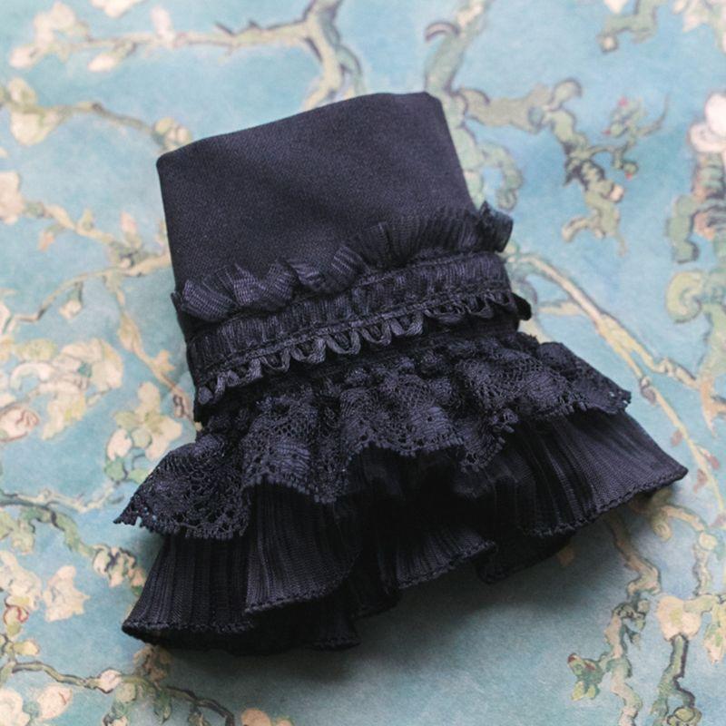 Gótico Retro negro desmontable manga falso puños Multi capa volantes encaje Patchwork Lolita princesa suéter decorativo