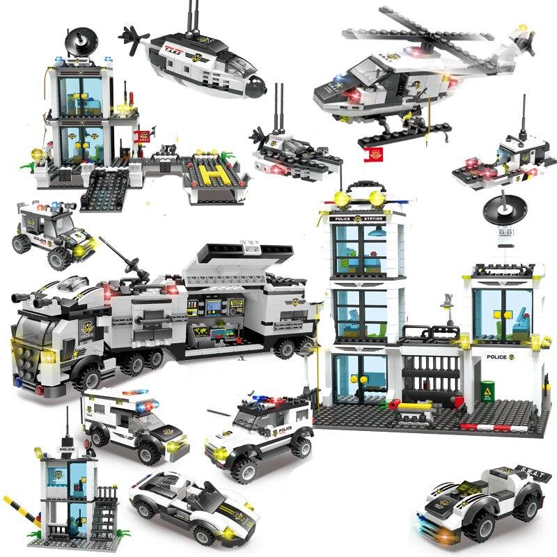 Ciudad policía SWAT conjuntos de bloques de construcción helicóptero coche modelo DIY Brinquedos Technic Playmobil figuras Ladrillos educativos juguetes para niños