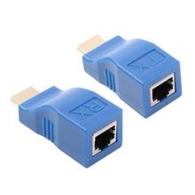 HDMI Extender 4k RJ45 Ports LAN Netzwerk HDMI Verlängerung Bis Zu 30m Über CAT5e / 6 UTP LAN ethernet Kabel Für HDTV HDPC 1 Paar