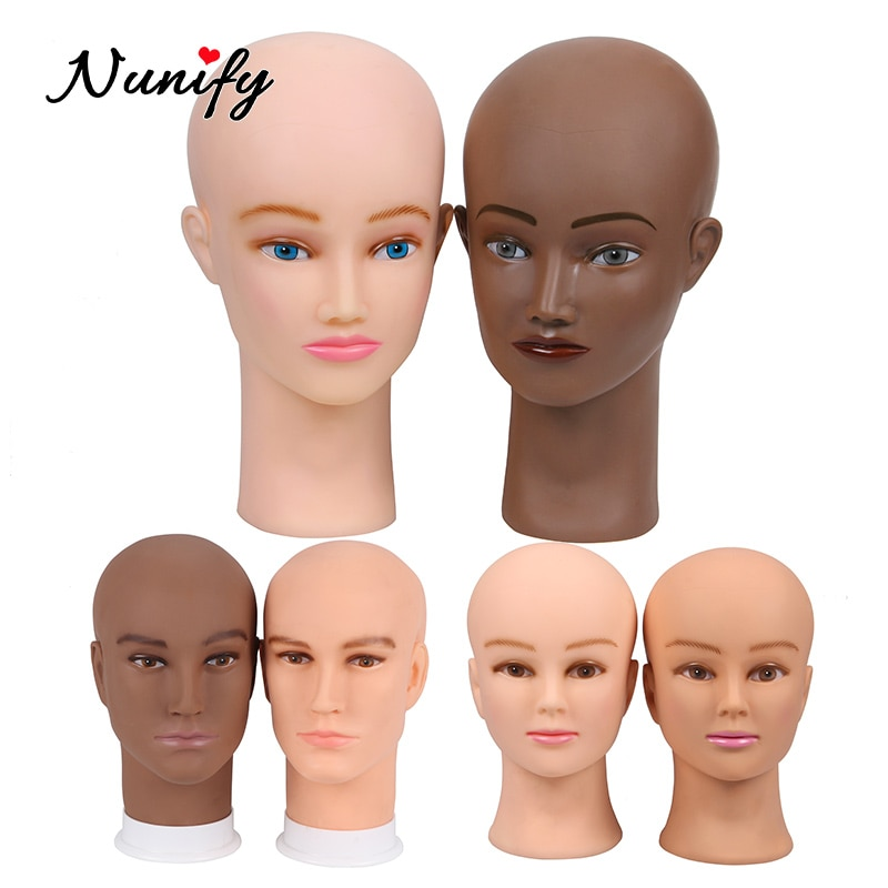 Nunify Bald Mannequin Head Brown Female/Male Professional Cosmetology For Wig Making, Display Wigs, Eyeglasses, Hairs