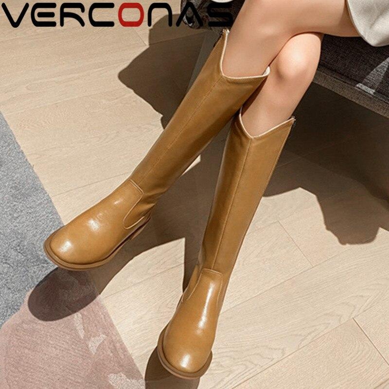 VERCONAS الموضة امرأة حذاء برقبة للركبة الخريف الشتاء الدافئة جلد البقر مكتب حفلة موسيقية الأحذية الأساسية موجزة ماركة أحذية امرأة