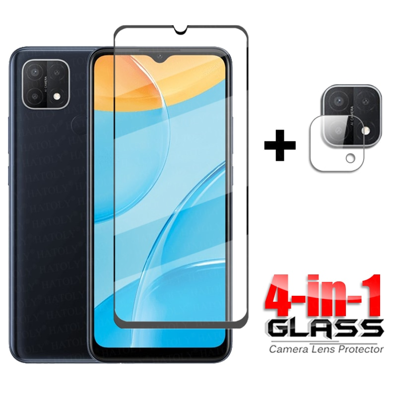 Voor Glas Oppo A15 A15S A16 Volledige Cover Gehard Glas Voor Oppo A93 A72 A52 A95 A53 A32 A94 A12 a74 Screen Protector Camera Glas
