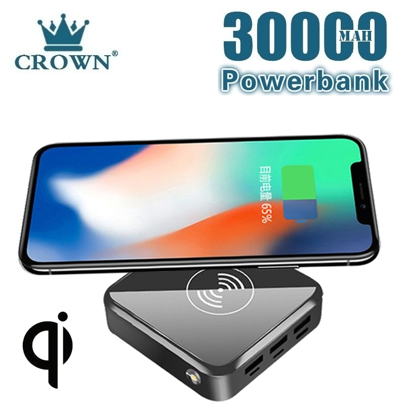 Wireless Fast Charge Power Bank 30000 mAh Portable Mobile Phone Charger Outdoor Travel Powerbank Sui