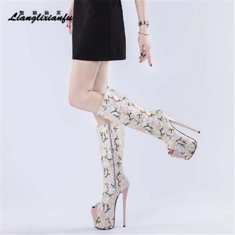 Retro shoes 19cm thin heels woman High Boots Nightclub Embroidered Botas mujer Peep Toe Sexy Lovers' interest platform Stilettos