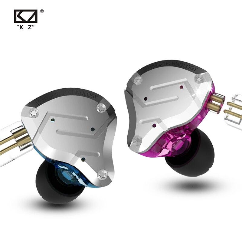 KZ ZS10 Pro auriculares con cancelación de ruido 4BA + 1DD híbrido 10 unidades de controlador auriculares con graves HIFI auriculares de Metal con Monitor de oído