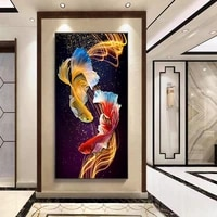 5d diy round ab diamond fish printed princess goldfish embroidery paintings koi pattern cross stitch kits mosaic decor