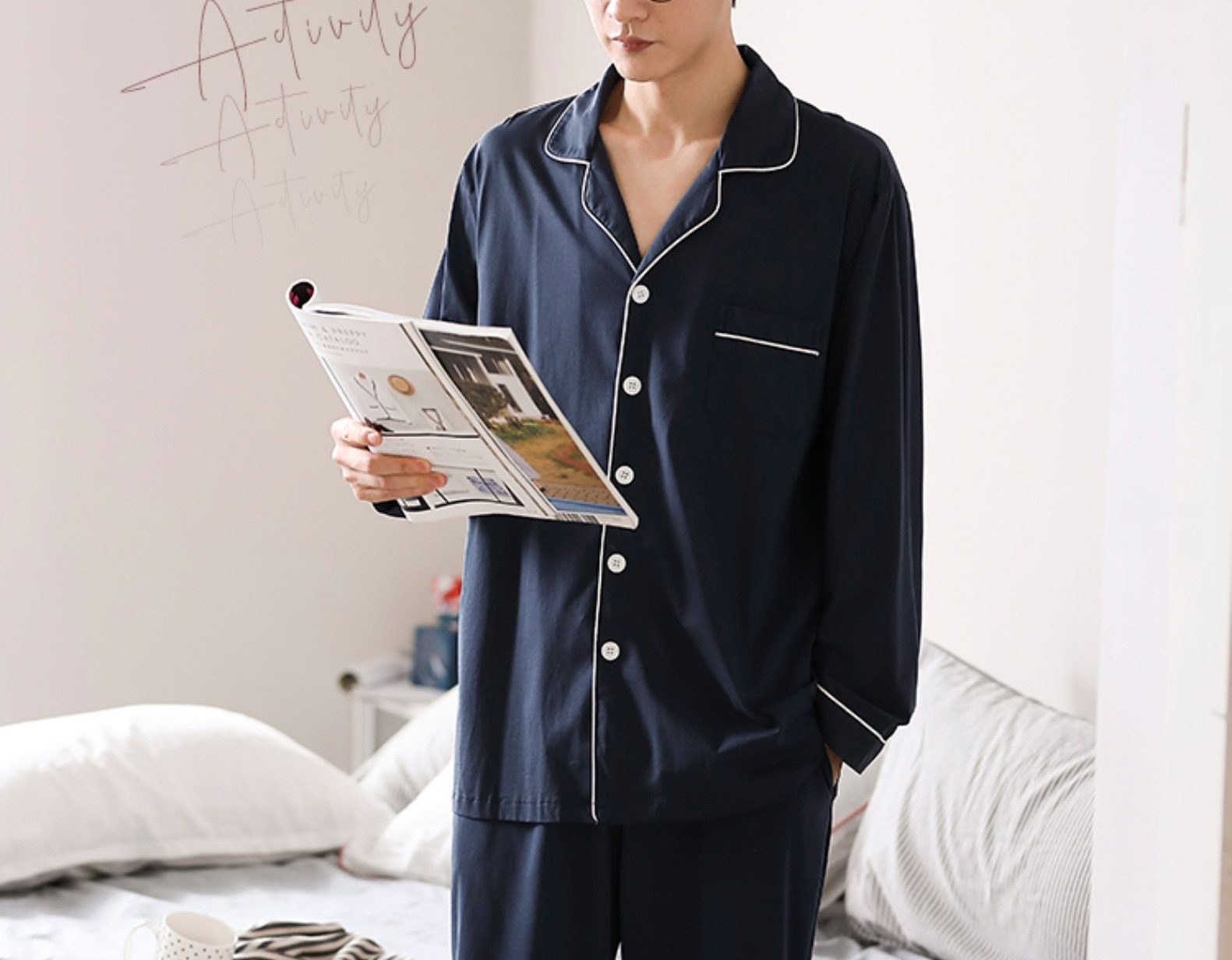 2021 Japanese Style Men's Pajamas Comfortable 100% Cotton Comfortable Lapel Shirt Long Sleeve Pajamas SetcottonWorsted