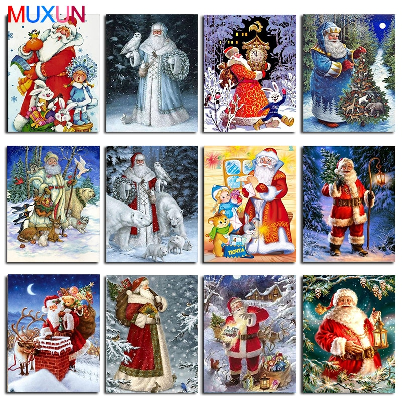 Muxun Diy 5D Diamond Embroidery Christmas Pictures Of Rhinestones 3D Diamond Painting Full Square Santa Claus Holiday Gift Lx692